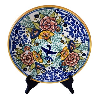 Vintage Amora Talavera Mexican Pottery Plate For Sale