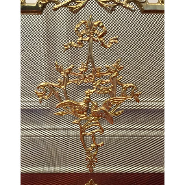 Louis XVI Style Brass Fireplace Screen - Image 6 of 10