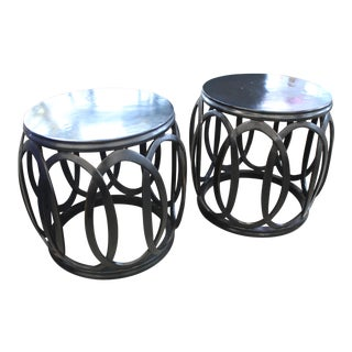 Modern Barbara Barry for McGuire Bracelet Drum Tables/Stools - a Pair For Sale