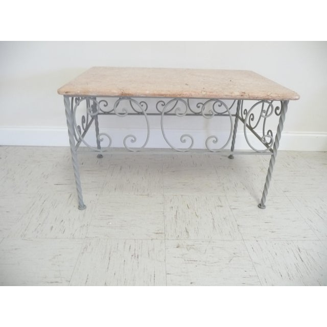 Vintage French Iron & Marble Top Coffee Table - Image 2 of 9
