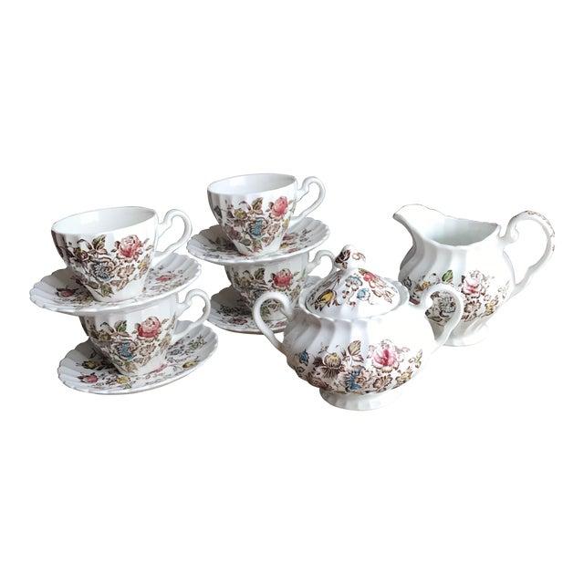 Staffordshire Bouquet England Tea / Coffee Set - 11 Piece For Sale
