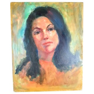 1960s Vintage Portrait of a Young Woman Oil on Canvas Painting For Sale