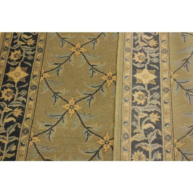 Semi Antique Istanbul Hortenci Lt. Green/Charcoal Turkish Hand-Knotted Rug -4'2 X 6'0 For Sale In New York - Image 6 of 8
