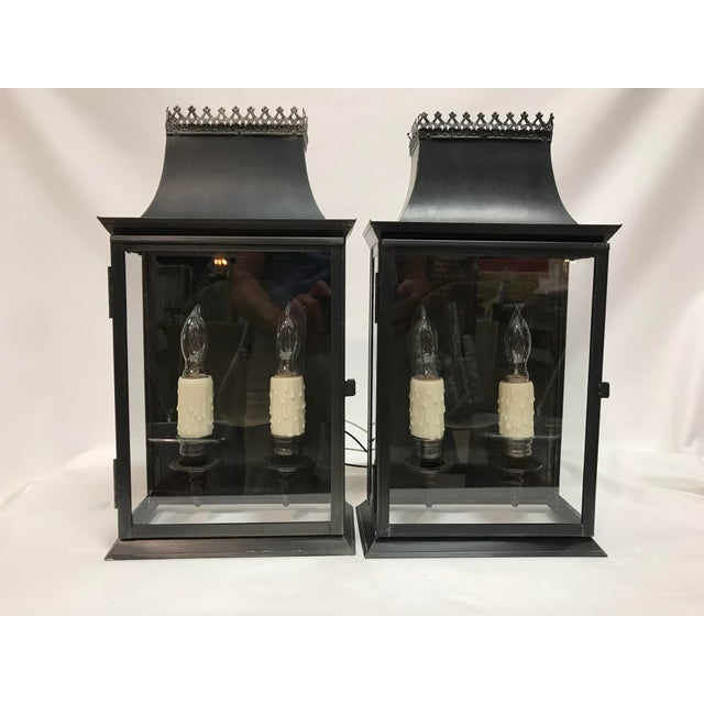 20th Century Regency Style Tole Lantern Wall Sconces Antiqued Brass - a Pair For Sale - Image 13 of 13