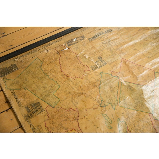Americana 1860s Cumberland County Maine Wall Map Featuring Portland For Sale - Image 3 of 11