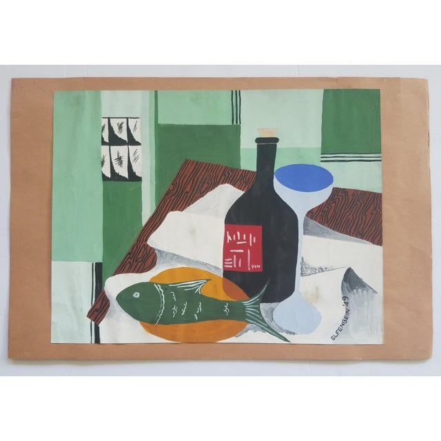 1940s Vintage Elfenbein Tablescape Still Life Painting For Sale - Image 4 of 4