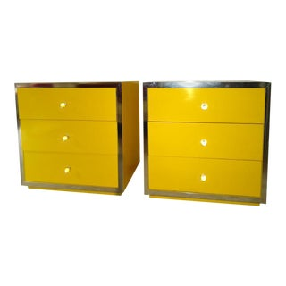 Mid-Century Modern Yellow Nightstands - A Pair