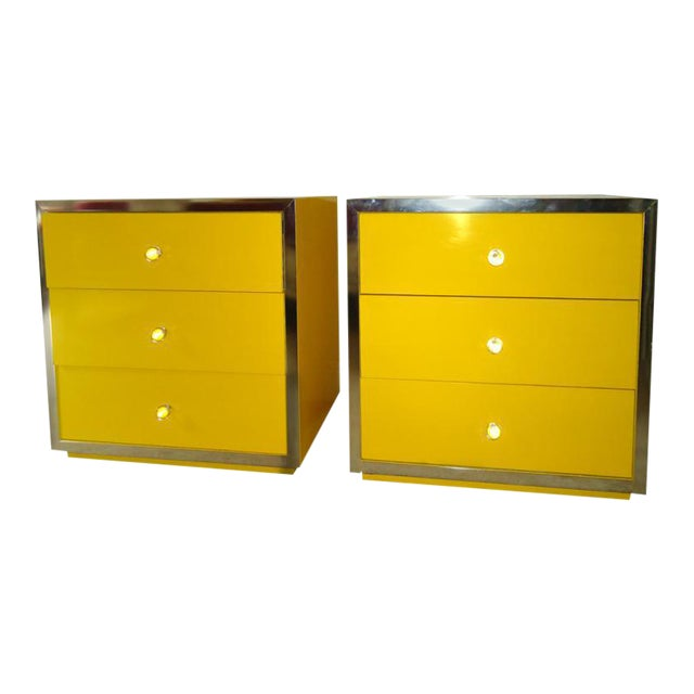 Mid-Century Modern Yellow Nightstands - A Pair - Image 1 of 6