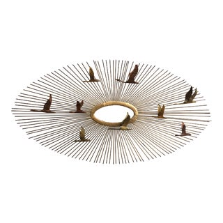 Mid Century Mixed Metals Brutalist Flying Geese Sunburst Wall Sculpture Flying Geese For Sale