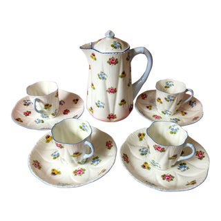 1990s Shelley Rose Pansy Forget Me Not Demitasse Coffee Service - Set of 5 For Sale