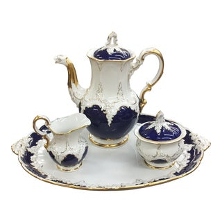 Late 19th Century Vintage Cobalt Blue & Gold Meissen Porcelain Tea Set- 4 Pieces For Sale