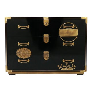 Mastercraft Campaign Style Lacquered Chest With Japanesque Brass Motif Accents For Sale