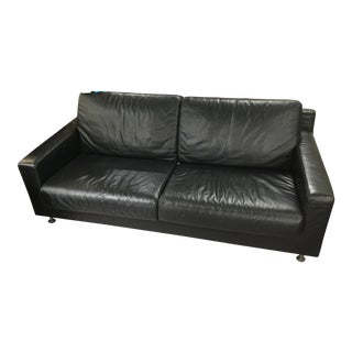 Mid Century Modern Chrome Low Seated Black Leather Sleeper Sofa For Sale