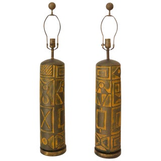 Mid-Century Modern Brutalist Table Lamps - a Pair For Sale