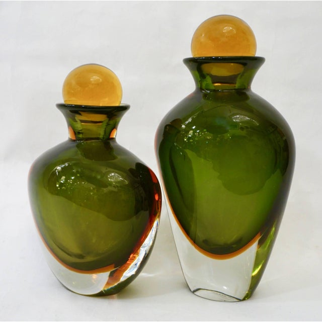 Formia Modern Italian Ovoid Yellow Green Orange Murano Glass Bottles - a Pair For Sale - Image 9 of 11