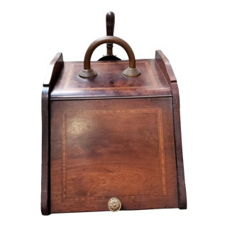 Mid 19th Century English Victorian Mahogany Coal Scuttle Box With Scoop For Sale
