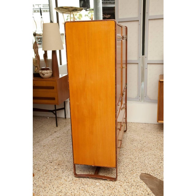 1950s Large Cherrywood and Leather Cabinet by Jacques Adnet For Sale - Image 11 of 13