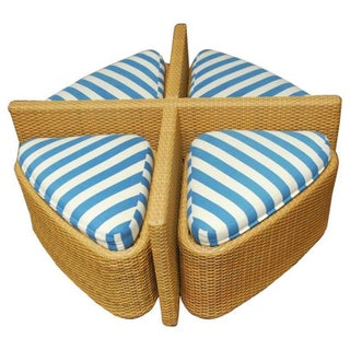 Modern Wicker Sushi Table With Ottomans - Set of 5