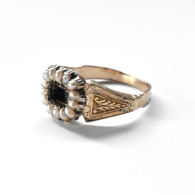 Contemporary 19th Century Lover's Eye Victorian Seed Pearl Ring For Sale - Image 3 of 7