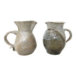 Stoneware Ceramic Milk Pitchers - a Pair For Sale