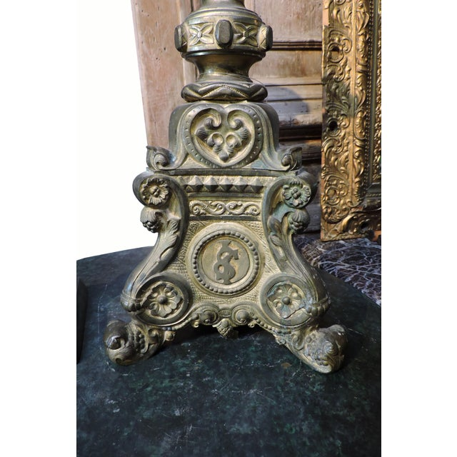 French French Gilded Church Candlestick With Christian Symbols For Sale - Image 3 of 6