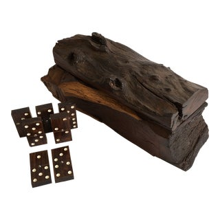 1970s Vintage Hand Carved Domino's Box For Sale