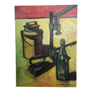 1978 Still Life Oil on Board For Sale