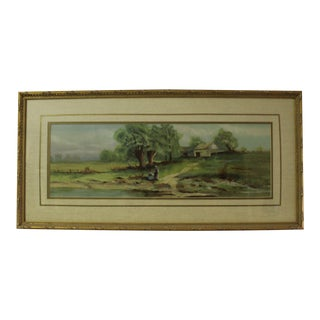 Antique English Country Scene With Two Girls Watercolor Painting For Sale