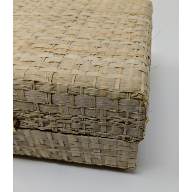 Ralph Lauren Inspired Woven Straw Keepsake Box With Brass Hardware For Sale - Image 9 of 11