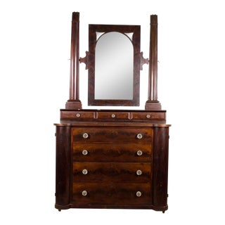 19th Century English Traditional Mahogany Mirrored Dresser For Sale