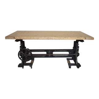 Early 20th Century Industrial Adjustable Iron Table, Desk, Work Table For Sale