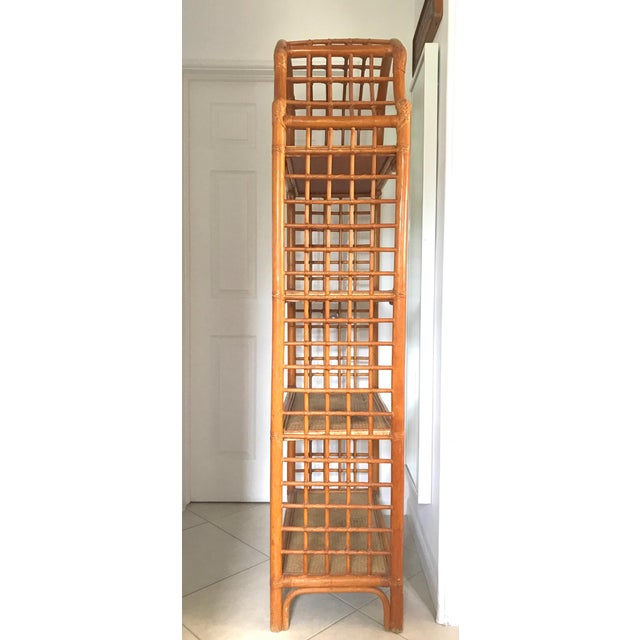 Asian Vintage 1960s Pagoda Shape Rattan Bamboo Shelves Etagere Palm Beach Regency For Sale - Image 3 of 13