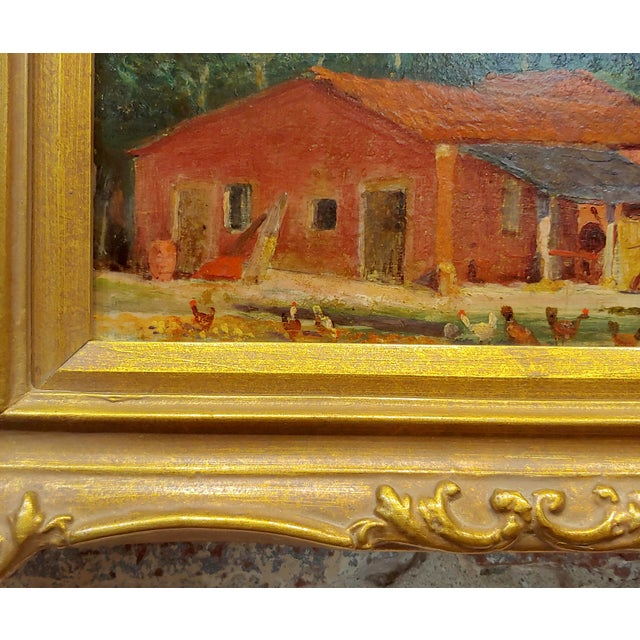 "Attributed to Morris Graves ""Farmhouse With Chickens"" Oil Painting For Sale In Los Angeles - Image 6 of 10"