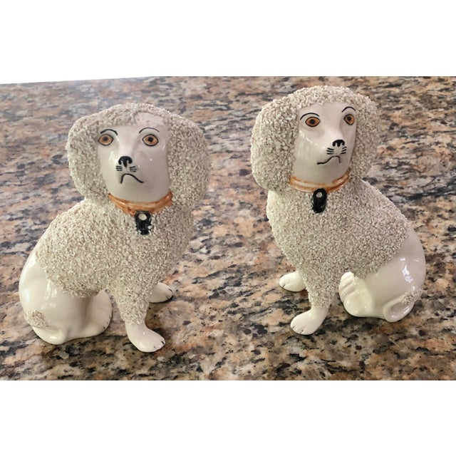 Antique Staffordshire Poodle Dog Figurines- a Pair For Sale - Image 12 of 13