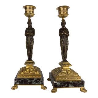 French Gilt Bronze Candlesticks - A Pair
