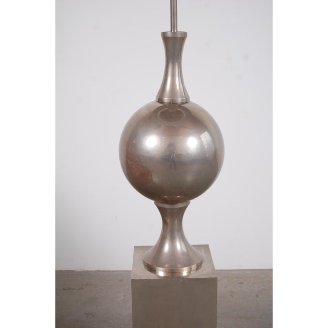 Metal Philippe Barbier Nickel Plated Floor Lamp From Paris For Sale - Image 7 of 12