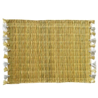Lola Placemat With Tassel, Set of 2 Gold & Silver For Sale