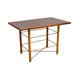 Exotic Rosewood Top Studio Crafted Table With Bowtie and Cross For Sale
