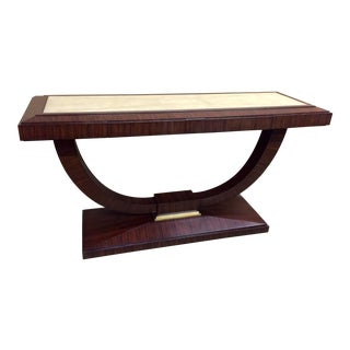 1980s Traditional Maitland Smith Natural Finish Rosewood Natural Shagreen Console Table For Sale