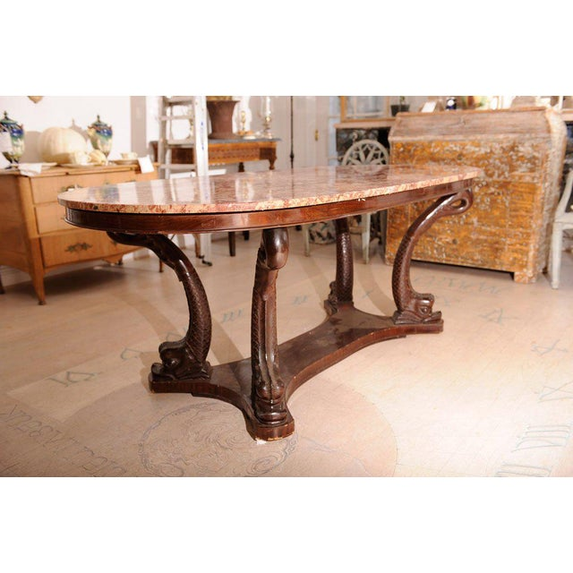 Italian Dolphin Oval Table With Rose Marble Top For Sale - Image 10 of 11