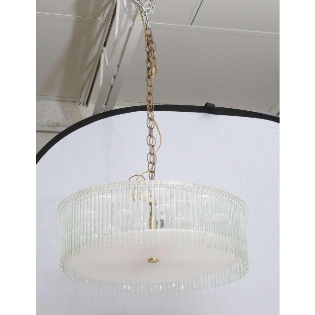Italian Mid Century Modern Lucite and Glass Rods Chandelier For Sale - Image 3 of 6