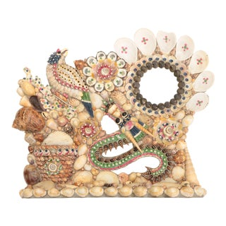 Shellwork Standing Mirror With Pocket Vase