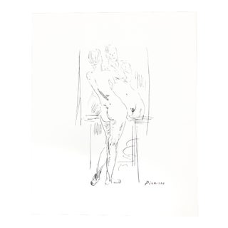 1920s Vintage Picasso Nude Sketch Reproduction Print For Sale