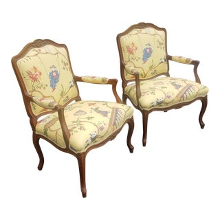 Pair Recently Upholstered 1980s French Louis XV Style Fauteuil Armchairs For Sale
