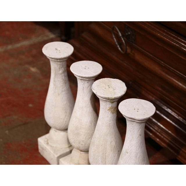Set of Four French 19th Century Patinated Carved Stone Balusters For Sale - Image 4 of 9