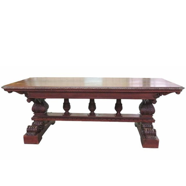 19th Century Carved Walnut Dining Table For Sale - Image 10 of 10