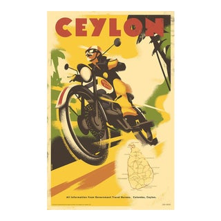 Danish Modern Travel Poster, Ceylon Motorcycle For Sale