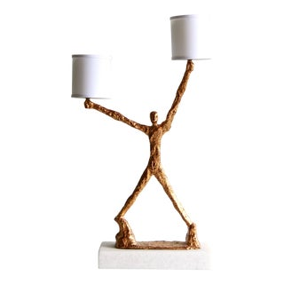 Modern Brutalist Gold Gilt Metal Figural Man Table Lamp in the Manner of Giacometti For Sale