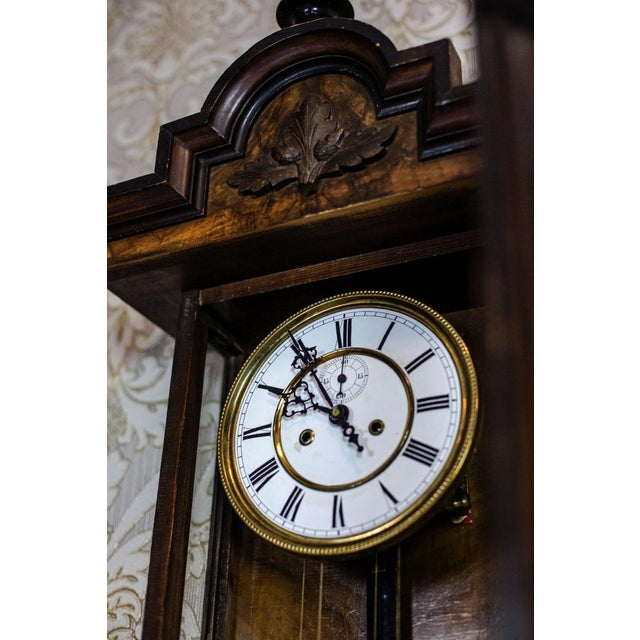 Brown 19th-Century Wall Clock For Sale - Image 8 of 13
