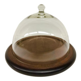 Glass & Wood Dome Top Cheese Plate For Sale